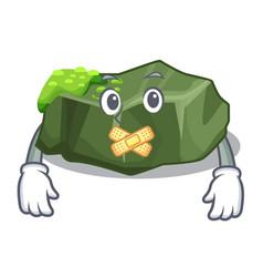 Silent green rock moss isolated on cartoon vector