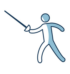 Silhouette of athlete practicing fencing vector