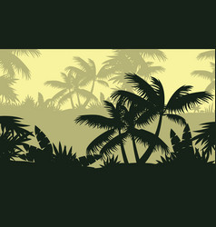Silhouette of palm tree on forest landscape vector