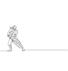 single continuous line drawing young japanese vector image