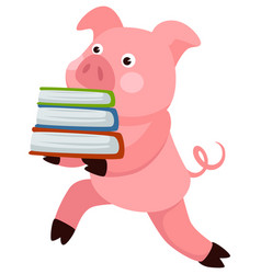 small pig animal carrying book school character vector image