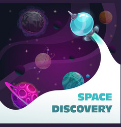 Space discovery concept fast spaceship start vector