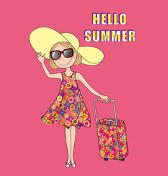summer travel background hello card girl vector image