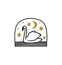 Swan night moon stars boho magical vintage vector