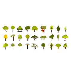 tree icon set flat style vector image
