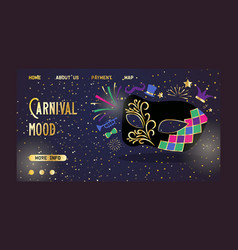 venetian carnival mask website main page banner vector image