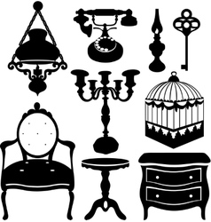 vintage retro decor items vector image