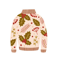 warm sweater decorated with holly berries leaves vector image