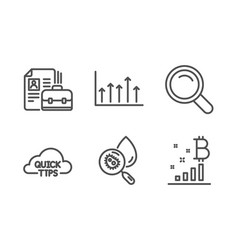 Water analysis quick tips and growth chart icons vector