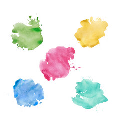 watercolor spots set realistic bright colorful vector image