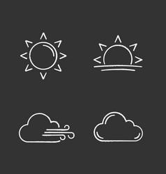 weather forecast chalk icons set vector image