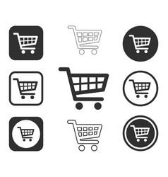 web store shopping cart icon shape button set vector image