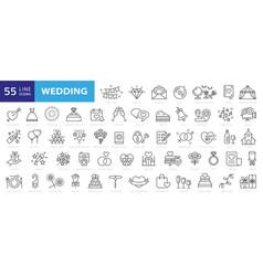 Wedding line icons set vector