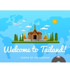 Welcome to Thailand poster with famous attraction vector