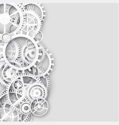White background with 3d gears and text space vector