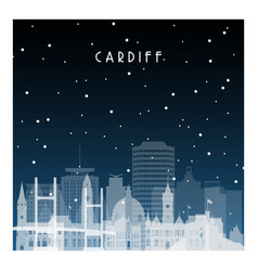 Winter night in cardiff night city in flat style vector