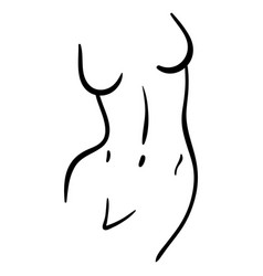 Woman curved body line art in minimal style vector