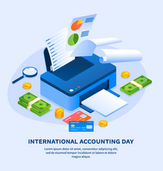 Work printer accounting day concept background vector