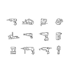 working tools for construction and repair line vector image