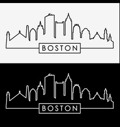 boston skyline linear style vector image vector image