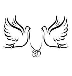 doves with wedding rings 2 vector image vector image