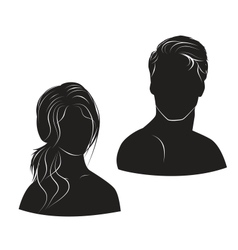 face man and woman on white background vector image vector image