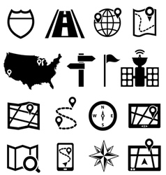 GPS navigation and road icons vector image