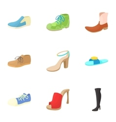 Kind of shoes icons set cartoon style vector image