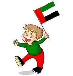 Arab Emirates flag and happy boy vector image