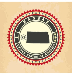 Vintage label-sticker cards of Kansas vector image