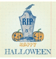 Halloween doodle with pumpkins and tombstone vector image