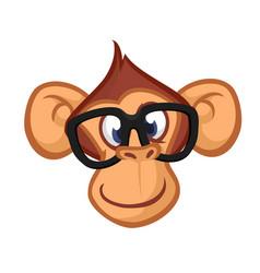 happy cartoon monkey head vector image vector image