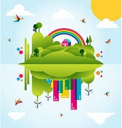 Happy green city spring time concept vector image vector image