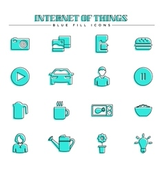 Internet of things and smart home blue fill icons vector image