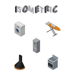 Isometric appliance set of stove cloth iron vector