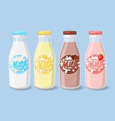 labels on milk bottles vector image