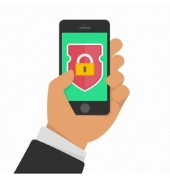 Mobile security app on smartphone screen vector image