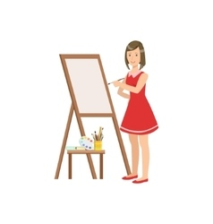 Woman Painter In Red Dress Creative Person vector image