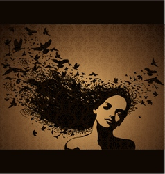 woman with birds flying from her hair vector image vector image