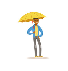 african american man standing with open yellow vector image vector image