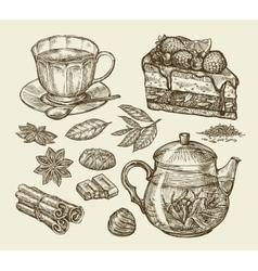 Tea dessert food Hand drawn pie pasty piece vector image