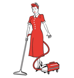 Woman cleaning the house vector