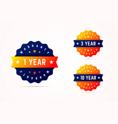 1 3 and 10 years warrany stickers vector image