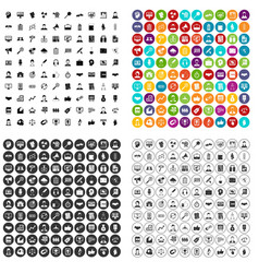 100 business person icons set variant vector