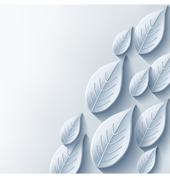 Abstract background with stylish gray 3d leaf vector image