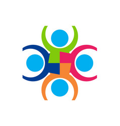 abstract team work people concept logo icon vector image