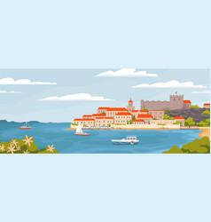 beautiful european town on summer sea coast vector image