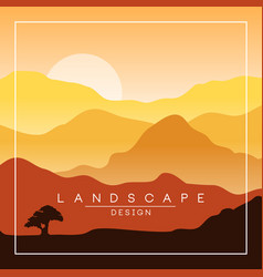 Beautiful peaceful landscape morning in mountains vector