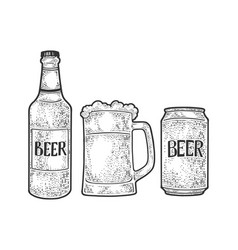 Beer bottle mug can sketch vector