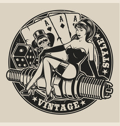 Black-white with pin-up girl on a spark plug vector